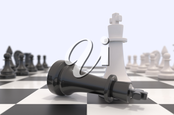 Two chess pieces on a chessboard. Black king laying down and white king standing up. Victory, competition, discussion, agreement and confrontation concept. 3D illustration.