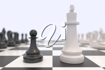 Two chess pieces on a chessboard. Black king and white pawn facing each other. Standing up to a bigger opponent, competition, discussion, agreement and confrontation concept. 3D illustration.