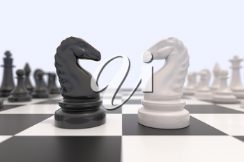 Two chess pieces on a chessboard. Black and white knights facing each other. Competition, discussion, agreement or opposition and confrontation concept.