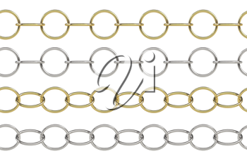 Seamless golden and silver rolo chain with round elements isolated on white