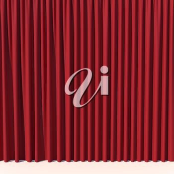 Red stage curtain. Luxury silk velvet drapery. Realistic closed theatrical cinema curtain. Waiting for the show, revealing new product, marketing concept. 3D illustration