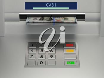 Atm machine keypad with banknotes in the money slot. Password security, online payment, cash withdrawal deposit, transfer funds, giving money returning bank debt concept. 3D illustration