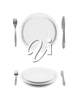 Two white plates with fork and knife. 2 different views. Isolated on white background. Two different view angles. Graphic design element for poster, menu, restaurant or cafe flyer.