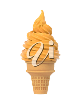 Salted caramel soft ice in waffle cone. Isolated on white background. Delicious flavor summer dessert. Graphic design element for icecream parlor menu, scrapbook, poster, flyer. 3D illustration