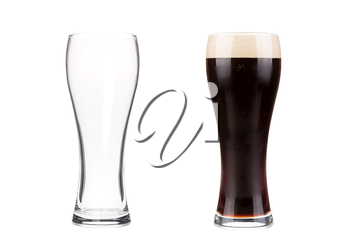 Two beer glasses isolated on white background. Mug filled with draft beer with bubbles and foam and an empty mug. Graphic design element for brewery ad, beer garden poster, flyers, printables.