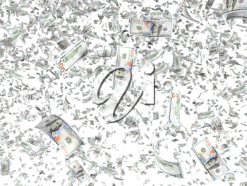 Falling banknotes isolated on white background. Money shower, winning lottery, cashback payment, finance success concept. Graphic design element for flyer, poster, website pattern. 3D illustration