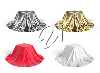Set of boxes covered with red, white,golden and silver satin fabric. Isolated on white background. 3D illustration
