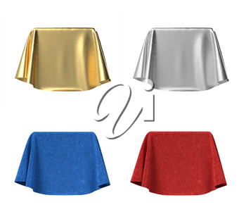 Set of boxes covered with red and blue velvet, silver and gold satin fabric. Isolated on white background. Surprise, award, prize, presentation concept. 3D illustration