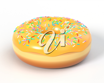 Delicious colorful donut with icing and sprinkles. Macro view of american dessert on white background. Graphic design element for bakery flyer, poster, advertisement, scrapbooking. 3D illustration.
