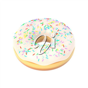 Delicious colorful donut with vanilla icing, sprinkles. Macro view of sweet american dessert isolated on white background. Graphic design element for bakery flyer, poster, scrapbook. 3D illustration