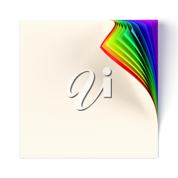 Blank square note page mock up with rainbow colored curled corner. Graphic design element with decorative colors and shadow. Diversity, love, equity, all colors of the rainbow concept. 3D illustration