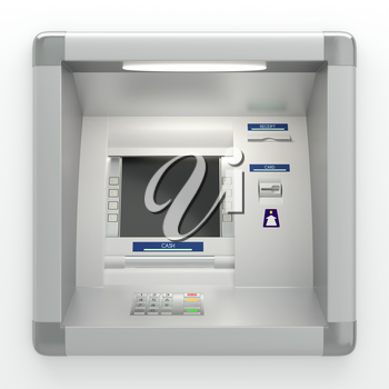 Atm machine with a card reader. Pin code safety, automatic banking, bank account access electronic cash withdrawal, concept. Display screen, buttons, cash dispenser, receipt printer. 3D illustration