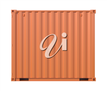 Ship cargo container 10 feet length, side view. Brown metallic freight box isolated on white background. Marine logistics, harbor warehouse, customs, transport shipping concept. 3D illustration