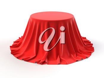 Round box covered with red fabric isolated on white background. Surprise, award, prize, presentation concept. Showroom stand. Reveal a hidden object, raise the curtain. 3D realistic illustration