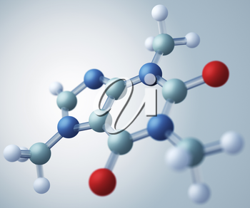Caffeine molecular model. Caffeine is an alkaloid that acts as a central nervous system stimulant