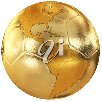 Gold soccer with world map. America
