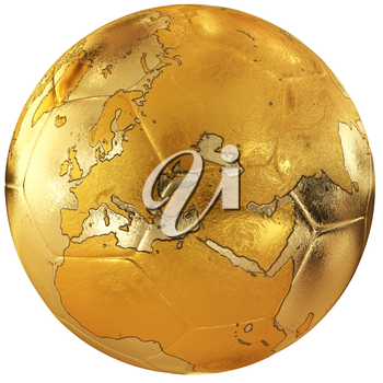 Gold soccer with world map. Europe