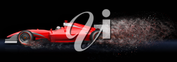 Generic red sport car with trail of dust.  This is 3D model and this sport car doesn't exist in real life
