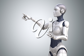 Robot points his finger up. Clipping path included