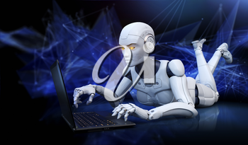 Robot lying on floor and using laptop. 3D illustration