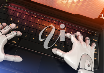 Robot typing on keyboard. 3D illustration