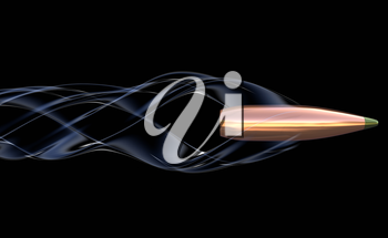 Flying bullet with air trail. 3D illustration