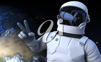 Spaceman on the orbit. 3D illustration. Elements of this image furnished by NASA