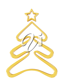 Christmas gold tree. 3d render with HDR