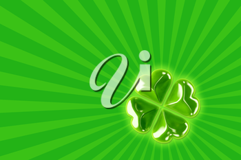 St. Patrick's background with 3d shiny four leaf clover