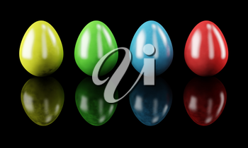 Colorful easter eggs isolated on black