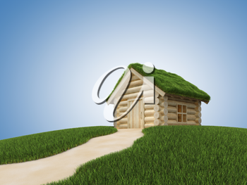 Pathway to wooden house with grassy roof. 3D render