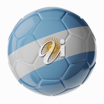 Football/soccer ball with flag of Argentina. 3D render