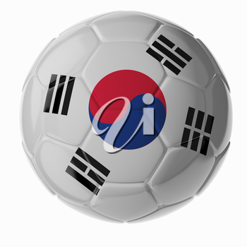 Football/soccer ball with flag of South Korea. 3D render