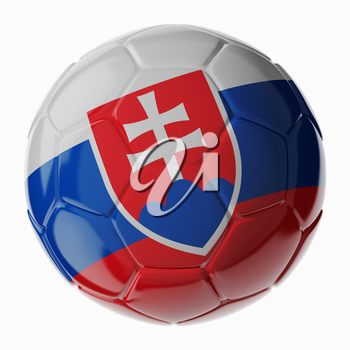 Football soccer ball with flag of Slovakia. 3D render