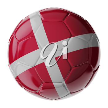Football soccer ball with flag of Denmark. 3D render