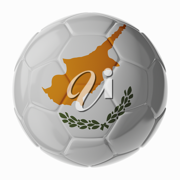 Football soccer ball with flag of Cyprus. 3D render