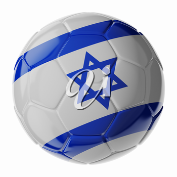 Football soccer ball with flag of Israel. 3D render