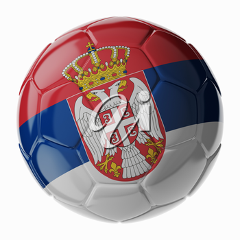 Football soccer ball with flag of Serbia. 3D render