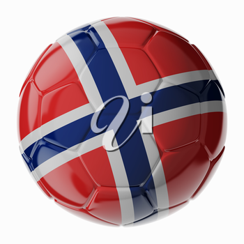 Football soccer ball with flag of Norway. 3D render