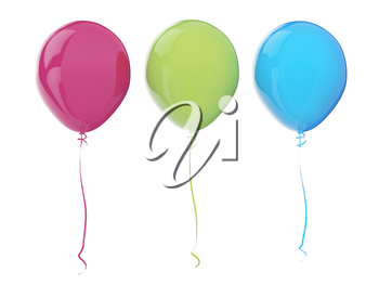 Multi-colored balloons. 3d render with HDR