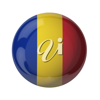 3D flag of Romania isolated on white