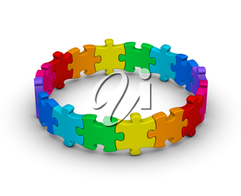 circle of colorful jigsaw puzzles on white background