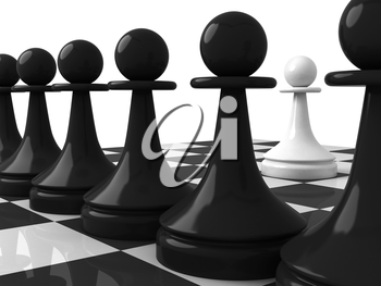 Classical shape chess pieces: one white pawn opposite black pawns on the chessboard. 3d render illustration, isolated on white background