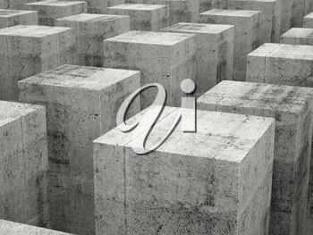 Abstract construction background with array of gray concrete blocks