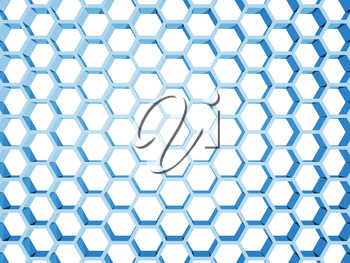 Blue honeycomb structure isolated on white background. 3d render illustration