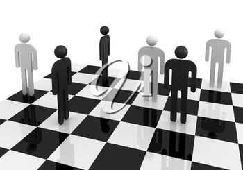 Black and white abstract people stand on a chessboard. Competition concept