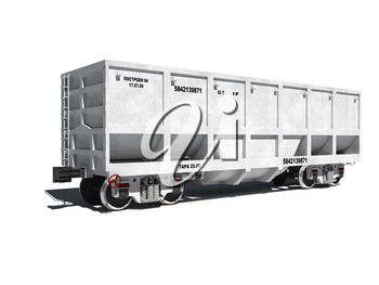 3d render illustration isolated on white: new white carriage for coal transportation with text labels (Russian)