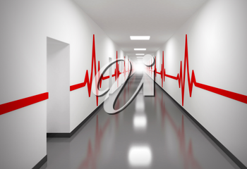 An abstract white hospital corridor with doors and red pulse lines on walls