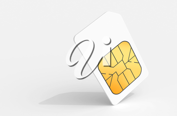 White Sim card above light gray background with soft shadow. 3d render illustration.
