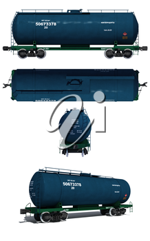 3d render illustration isolated on white: Projections and perspective view of the modern blue tank car with text labels (Russian)